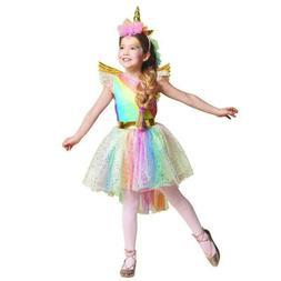 Girls Unicorn Rainbow Costume Tutu Dress Headband Halloween