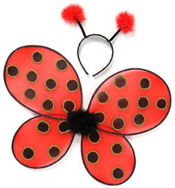 Great Pretenders Ladybug Wings with Headband, Red/Black