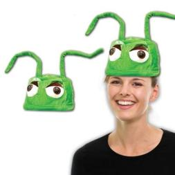 Green Velour Alien Hat with Wire Antennas Costume Party Hat