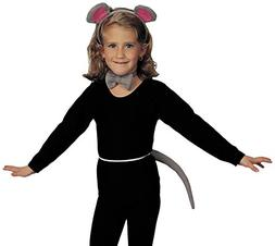 Child Girls Grey Gray Mouse Ears Tail Kit Set Costume Access