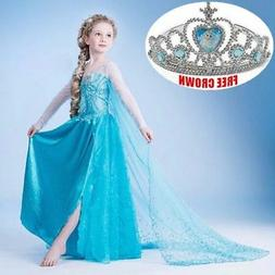 Kids Girls Elsa Frozen Blue Dress Costume Princess Anna Part