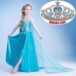 Kids Girls Elsa Frozen Blue Dress Costume Princess Anna Part