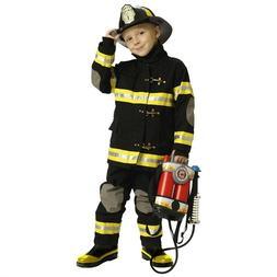 Jr. Fireman Fire Fighter Deluxe Black Child Costume Suit W/