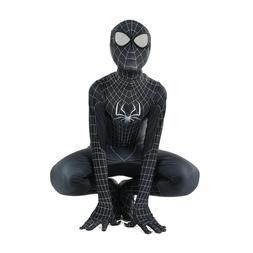 Kid Black Spiderman Cosplay Costume Halloween Birthday party