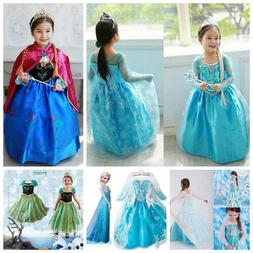 Kid Girl Princess Queen Elsa Anna Cosplay Costume Party Fanc