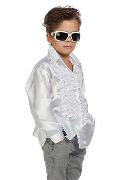 Kids 70s Disco White Frilly Disco Shirt