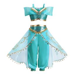 Kids Aladdin Costume Princess Jasmine Cosplay Outfit Girls H