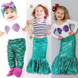 Kids Baby Girl Mermaid Costume T Shirt Top Skirt Dress Pants