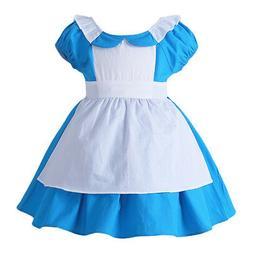 Kids Baby Girls Alice in Wonderland Cosplay Costume Hallowee