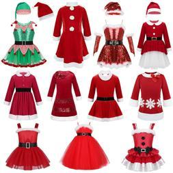 Kids Baby Girls Christmas Princess Santa Dress Xmas Elf Tutu