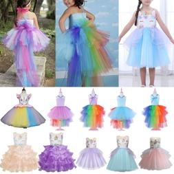 Kids Baby Girls Unicorn Cosplay Costume Party Wedding Tulle