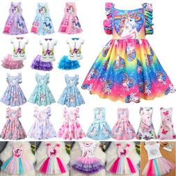Kids Baby Girls Unicorn Princess Summer Holiday Casual Party