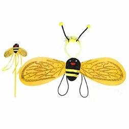 BESTOYARD Kids Bee Costume Wings Headband Wand for Cosplay C
