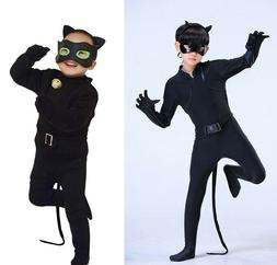 Kids Boy Black Cat Noir Cosplay Costume Fancy Jumpsuit / Ela