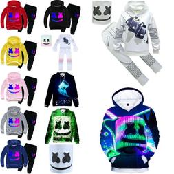 Kids Boys DJ MarshMello Mask Costumes Set Hoodie Pants Outfi