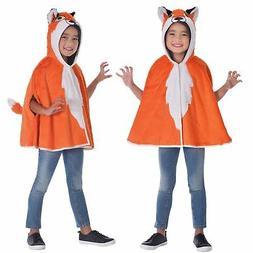 Kids Boys Girls Red Fox Hooded Cape Animal Wild Fancy Dress