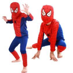 Kids Boys Girls Red Spiderman Cosplay Costume Superhero Fanc
