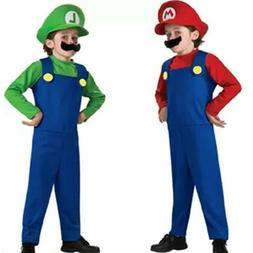 Kids Boys Girls Super Mario Luigi Bros Brother Party Cosplay