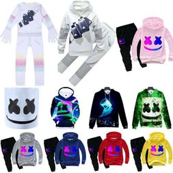 Kids Boys Marshmello DJ Mask Halloween Costume Hooded Pants