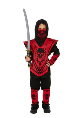 KIDS BOYS NINJA FIGHTER KARATE KID FANCY DRESS HALLOWEEN COS