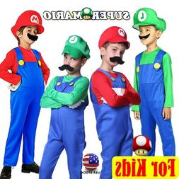 Kids Boys Super Mario Luigi Brother Jumpsuit Cosplay Costume