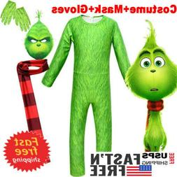 Kids Boys The Grinch Cosplay Costume Fancy Dress Halloween P