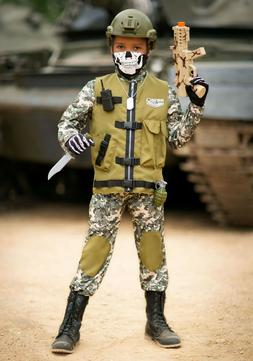 KIDS CAMO TROOPER ARMY COMMANDER COSTUME SIZE MEDIUM 8-10
