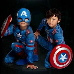 Kids Captain America Costume Avengers Child Cosplay Super He