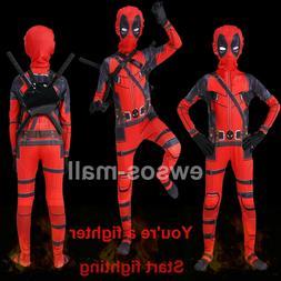 Kids Children's Superhero Costume Deadpool Full Body Hallowe