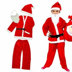 Kids Christmas Santa Claus Suit Costume Boys Child Girls Xma