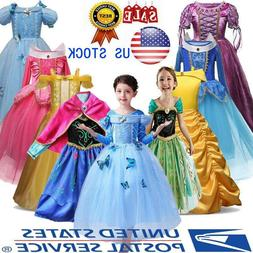 Kids Cinderella Dress Up Girls Princess Costume Fairytale Be