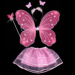 Kids Costume 4Pcs Set Fairy Butterfly Wings Skirt Halloween