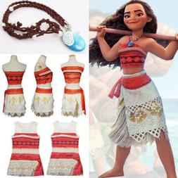 Kids Costume Moana Princess Girls Cosplay Fancy Dress Neckla