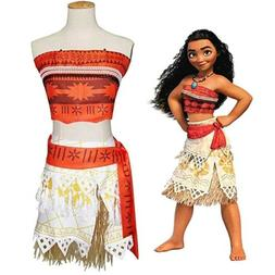 Kids Moana Princess Girls Dress Cosplay Costume Grass Skirt