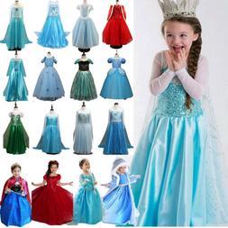 Kids Disney Princess Elsa Dress Fancy Costume Girls Party Co