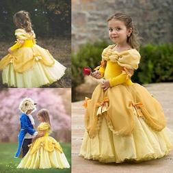 Kids Girl Princess Belle Dress Fancy Halloween Costume Carni