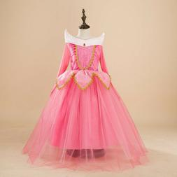 Kids Girl Sleeping Beauty Princess Aurora Cosplay Costume Pa