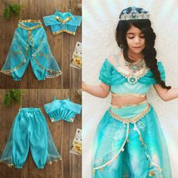 Kids Girls Aladdin Costume Princess Cosplay Outfit Sequin Pa