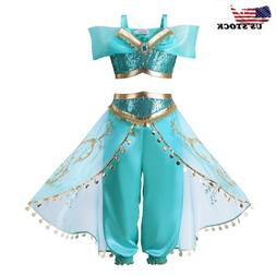 Kids Girls Aladdin Costume Princess Jasmine Cosplay Party Fa