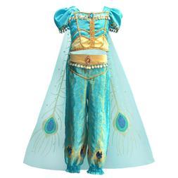 Kids Girls Aladdin Costume Princess Jasmine Cosplay Outfit H