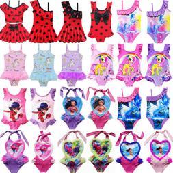 Kids Girls Baby Cute Cartoon One-Piece Swimwear Swimming Cos