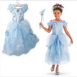 Kids Girls Costume  Princess Cinderella Inspired Blue Dress