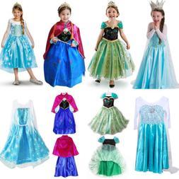 Kids Girs Frozen Elsa Princess Fancy Dress Cosplay Anna Part