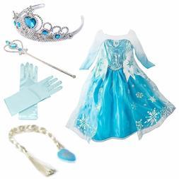 Kids Girls Frozen Elsa Dress Princess Queen Cosplay Costume