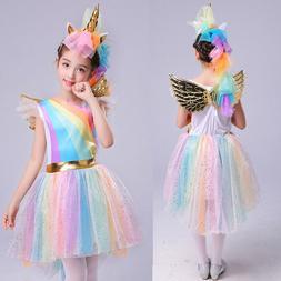 Kids Girls Christmas Unicorn Costume Fancy Dress Cosplay Par