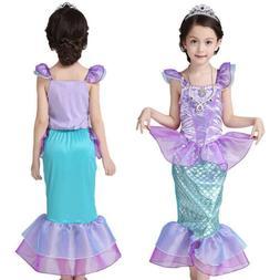 Kids Girls Little Mermaid Ariel Princess Cosplay Costume Par