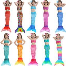 Kids Girls Mermaid Swimsuit Tail Costume Summer Swimwear Swi