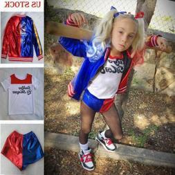 Kids Girls Suicide Squad Harley Quinn Coat Shorts Top Set Ha