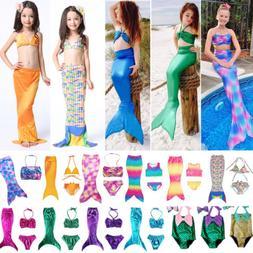 Kids Girls Swimwear Swimmable Mermaid Tail Bikini Costume Be