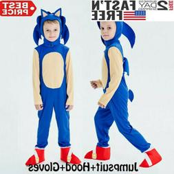 Kids Halloween Cosplay Sonic The Hedgehog Jumpsuit Costume P